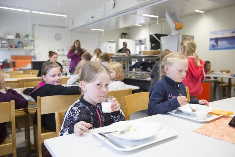Kulleron päiväkoti Rovaniemen Sinetässä sai Makuaakkoset-diplomin ruokailun kehittämisestä. Edessä Viivi, oikealla Viia